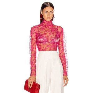 CARMEN MARCH Chantilly Lace Blouse Top Hot Pink